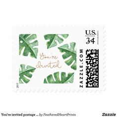 You're invited postage stamp palms, summer beach island wedding theme, great for invitations or save the date envelopes