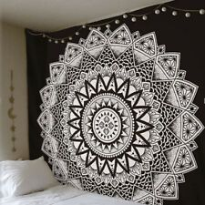 Cootime Blue Mandala Tapestry Hippie Bohemian Flower Psychedelic Tapestry Wall Hanging Indian Dorm Decor for Living Room Bedroom 59.1x51 Inches