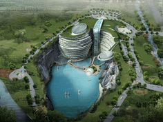 Songjiang Hotel offers a whole new hotel experience for residents of Songjiang and for tourists of China. This five-star hotel is located in a water-filled quarry with natural water and landscaped features. The Atkins architects captured the attention of the public by combining world-class facilities into an environment-enclosed area.
