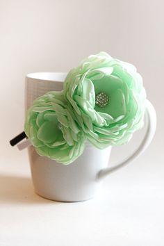 Mint Flowers Headband by JensBowdaciousBows on Etsy