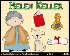 Helen Keller Digital Clip Art  Commercial Use by ResellerClipArt, $1.50