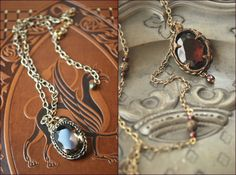 """Necklaces by Lorliaswood, zoom on the alchemical line. """"Citrinitas"""" (left), and """"Solve Coagula"""" (right), available in the shop (www.lorliaswood.fr)"""