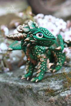 Forest Baby Dragon sculpture - dragon figurine - fantasy figure - totem animal - ooak dragon - magic forest animal - polymer clay dragon - fimo art - spring - flower -  leaf dragon - rhaegal - game of thrones - targaryen dragon by GloriosaArt