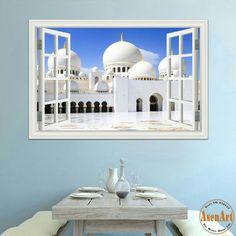 Wall Stickers, Vinyl Decals, 3d Wallpaper For Walls, Islam Muslim, Window View, Wall Murals, Taj Mahal, Construction, Windows