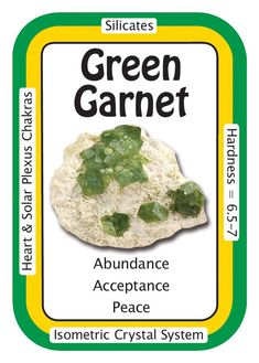 "Crystal Card of the Day: Green Garnet, ""The Universe provides abundance in all aspects of my life."" Uvarovite, is referred to as a stone of abundance. Increasing abundance of love, acceptance and peace. It can increase self-confidence, heals feelings of inadequacy and allows you to feel that, you always have what you need.  http://www.healingcrystals.com/Green_Garnet__Uvarovite__Articles_11554.html http://www.healingcrystals.com/Crystal_Information_Cards___Oracle_Decks_1__2_and_3.html"