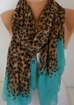 ON SALE  Leopard Scarf Shawl Cotton Scarf Cowl Sacrf by fatwoman, $19.80
