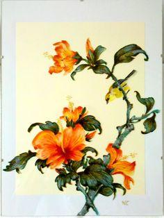 """Tableau peinture sur verre """"HIBISCUS"""" : Peintures par mamycole"""