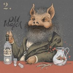 """Old Major (Karl Marx) from """"Animal Bar (A Fairy Story)"""" Individual character designs for a large format artwork composition based on the Animal Farm allegory of the Russian Revolution by George Orwell, for Revolution Vodka Bars.. """"All Vodka's are Equal… but some are more equal than others"""""""