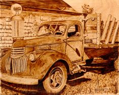 '41 Chevy, by Blair Brown, Pyrography on wood panel