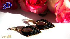 Black&Gold Beaded Earrings. 3D Beading Tutorial