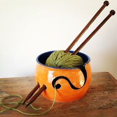 Orange and Blue Gloss Glazed Yarn Bowl. + P&P Code: Now Sold - Remade on request. Ceramic Bowls, Ceramic Pottery, Ceramic Art, Yarn Crafts, Clay Crafts, Diy And Crafts, Little Presents, Crochet Wool, Pottery Classes