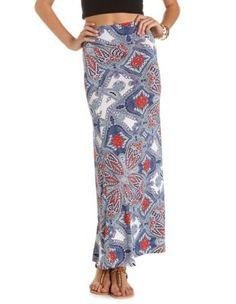 paisley print woven maxi skirt