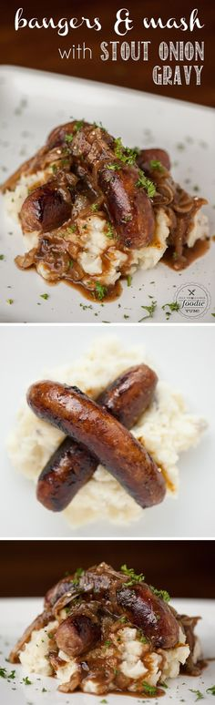 Serve up some delicious Bangers and Mash with Stout Onion Gravy for a quick and easy dinner the entire family will love, especially on St. patricks day dinner vegan Bangers and Mash with Stout Onion Gravy Sausage Recipes, Pork Recipes, Cooking Recipes, Quick Recipes, Shrimp Recipes, Casserole Recipes, Pasta Recipes, Chicken Recipes, Cake Recipes