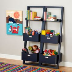 Little Sloane Leaning Bookcase (Midnight Blue)  | The Land of Nod