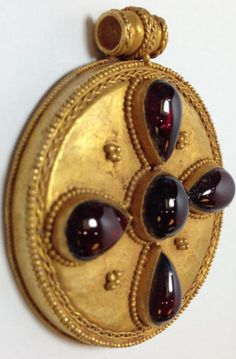 Wow!!! I want one!! ~ML Byzantine style hollow gold Cross with garnet, 700 A.D.