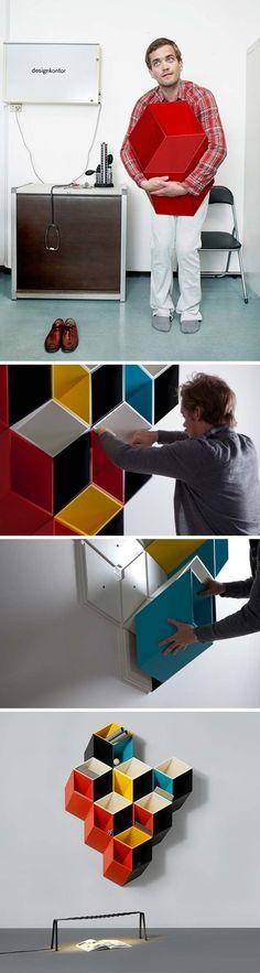 Norweigian designer Bjørn Jørund Blikstad, Imeüble, 3d shelving system that looks flat