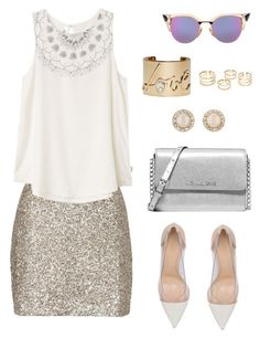 """Sequins"" by lizz-med on Polyvore featuring moda, Topshop, RVCA, Gianvito Rossi, Michael Kors, Kate Spade, Lanvin y Fendi"