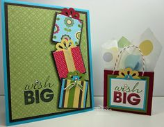 Wish Big Card and Gift Bag by Inking Idaho. Such an amazing design idea using squares to pile up as gifts on the card.  And a matching gift bag to top it off is just perfect!  For fun patterned cardstocks, check out www.cardstockshop.com.