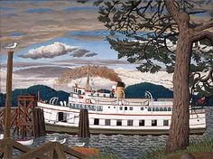 The Car Ferry at Sidney BC 1000 piece jigsaw puzzle by Cobble Hill Puzzle Co. Artist: E. Ottawa, Art Inuit, Victoria Vancouver Island, Christmas Trivia, Cabin Signs, Transportation Theme, Canada, Canadian Artists, Native Art