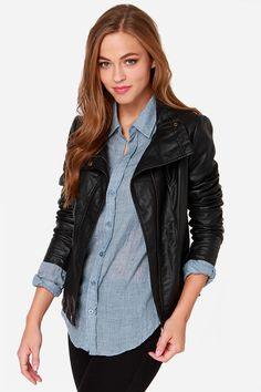 Moto-ly Obsessed Black Vegan Leather Moto Jacket at Lulus.com!