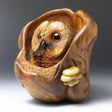"Netsuke - ""The Watchful Owl"" - Owls hunt mice, mice eat mushrooms, mushrooms destroy trees, and trees can absorb the remnants of a dead owl... A spider had stretched its web and any careless creature will be captured and eaten alive! Carved from Crimean Juniper with eyes made of inlaid amber."