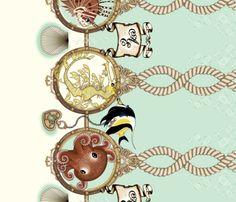 Amelia's Locket Sea Foam fabric by atelierenchanteur on Spoonflower - custom fabric