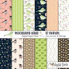 """Woodland Bird Digital Paper Pack 