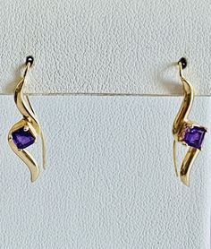 Square Amethyst in 14K Gold Swirl Style Earrings with French | Etsy Real Gold Jewelry, Pearl Jewelry, Vintage Earrings, Vintage Jewelry, Amethyst Earrings, Sterling Silver Hoops, Gold Bands, Cross Pendant, Earring Set