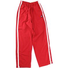 Vintage 90s Tommy Hilfiger warm up pants ($50) ❤ liked on Polyvore featuring pants, red trousers, vintage pants, red pants, vintage trousers and nylon pants