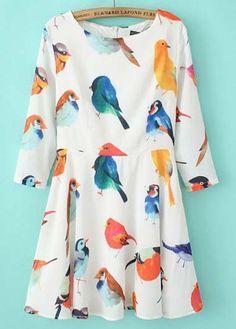 Cute Bird Print Three Quarter Sleeve Chiffon Mini Dress