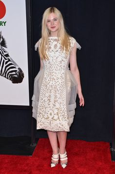 Elle Fanning Cocktail Dress - Elle Fanning looked sweet and youthful in a white embroidered organza dress at the 'We Bought a Zoo' premiere.