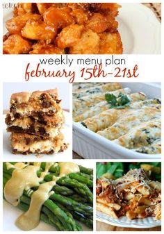 Weekly Menu Plan Feb 15-21st from Six Sisters' Stuff | These quick and easy meals are perfect to keep you and your family on the go.