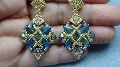 CATHY orecchini Seed Bead Earrings, Beaded Earrings, Earring Tutorial, Swarovski Crystal Earrings, Beading Projects, Beading Patterns, Jewelry Making, Pendants, Jewelry Designer
