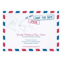 Custom Greece Air Mail Wedding Save The Date Custom Invites created by labellarue. This invitation design is available on many paper types and is completely custom printed. Spanish Wedding Invitations, Whimsical Wedding Invitations, Save The Date Invitations, Save The Date Cards, Custom Invitations, Party Invitations, Invites, Invitations Online, Personalized Invitations