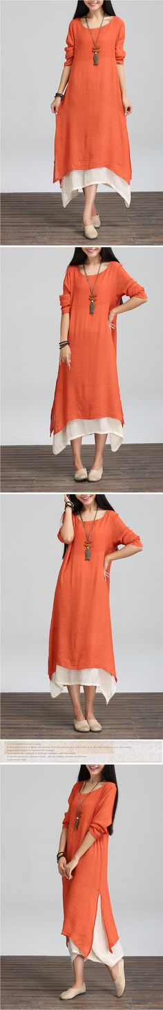 Spring and Winter Dress Loose Waist Long Sleeve Women Dress Plus Size Vintage Dress Casual Linen O Neck Floor Length Maxi Dress-inDresses from Women's Clothing & Accessories on Aliexpress.com | Alibaba Group
