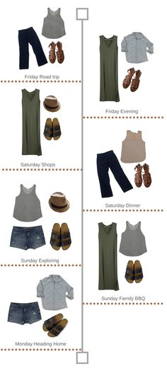 5bd99650a8cc 7 outfits created out of 9 basic wardrobe items. Perfect for a weekend trip.