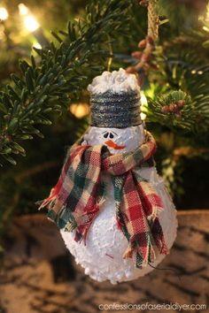 Snowman Light Bulb Ornament