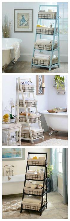 New diy shelves white bathroom storage Ideas Bathroom Storage Ladder, Laundry Room Storage, Closet Storage, Bath Storage, Laundry Closet, Small Laundry, Laundry Rooms, Beach Towel Storage, Storage Room