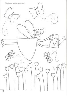 Fairy Garden applique pattern #2