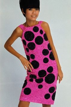 Fun beaded pink with black circles party dress