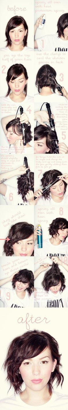 short wavy hair tutorial, great for people in between the really short and medium length hair