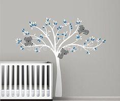 Oversized 220x196cm grand arbre Koala muraux pour bébé pépinière - décor mural vinyle pépinière bébé stickers ,T3026