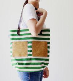 Stripe Canvas Tote | Women's Bags & Wallets | Flowie | Scoutmob Shoppe | Product Detail