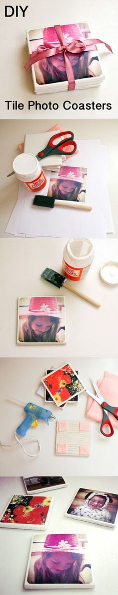 DIY Tile Photo Coasters