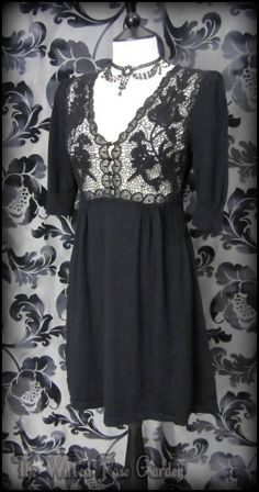 Romantic Goth Black Floral Cotton Lace Knit Tea Dress 10 Vintage Victorian Doll | THE WILTED ROSE GARDEN