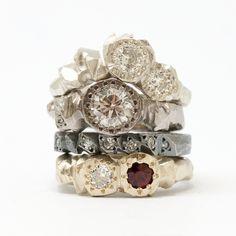 Katrina's Rings by Kim Victoria Wearne     9ct White gold  diamonds, 18ct white gold and diamonds, Sterling silver and diamonds and 9ct white gold, diamond, garnet