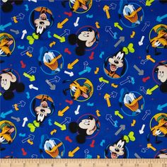 Disney Mickey & Friends Mickey Head  Toss Blue from @fabricdotcom  Designed by Disney and licensed to Springs Creative Group, this cotton print is perfect for quilting, apparel and home decor accents.  Colors include black, white, yellow, orange, red, green and peach.