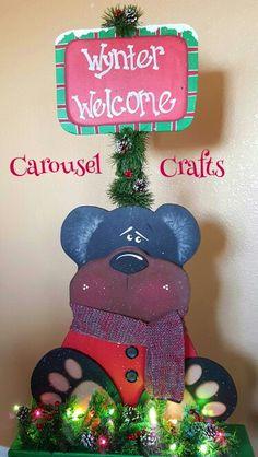Cute wood bear winter welcome. Wood craft