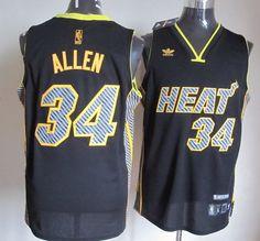 cc3b5d8f5 Adidas NBA Miami Heat 34 Ray Allen Electricity Fashion Swingman Black Jersey  Cheap Nba Jerseys
