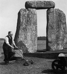 History In Pictures Like This Page · May 8 · A gardener mowing the grass at Stonehenge, circa Photograph by Barbara Maddrell. Photos Du, Old Photos, Nice Photos, Stonehenge, Historical Pictures, Vintage Photographs, Vintage Photos, Banksy, Old Pictures